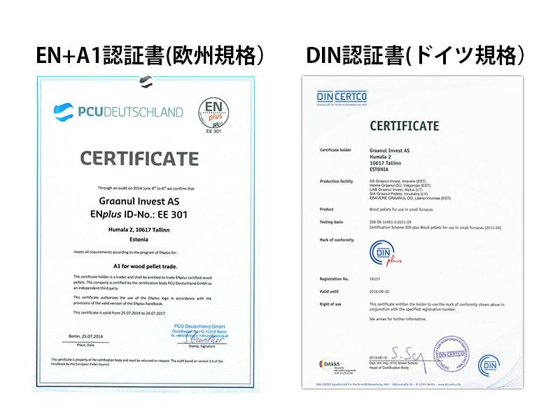 EN+規格、DIN規格証明書
