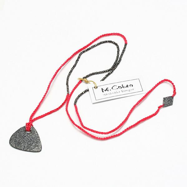 【送料無料】M.Cohen/エムコーエン シルバービーズ&カラーコードネックレス with シルバー ギターピック/ブライトレッド N-101083-SLV-BRD