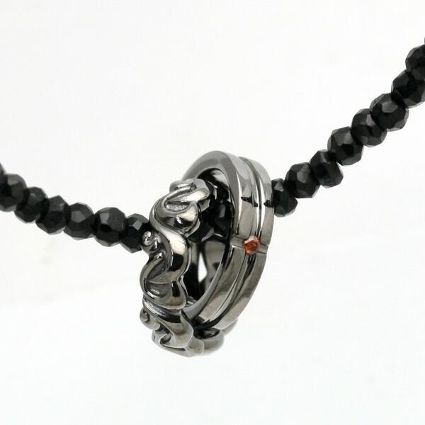 【送料無料】Royal Stag Zest/ロイヤル スタッグ ゼスト メンズ レッドダイヤ ツインリング ブラックスピネルネックレス SN25-021