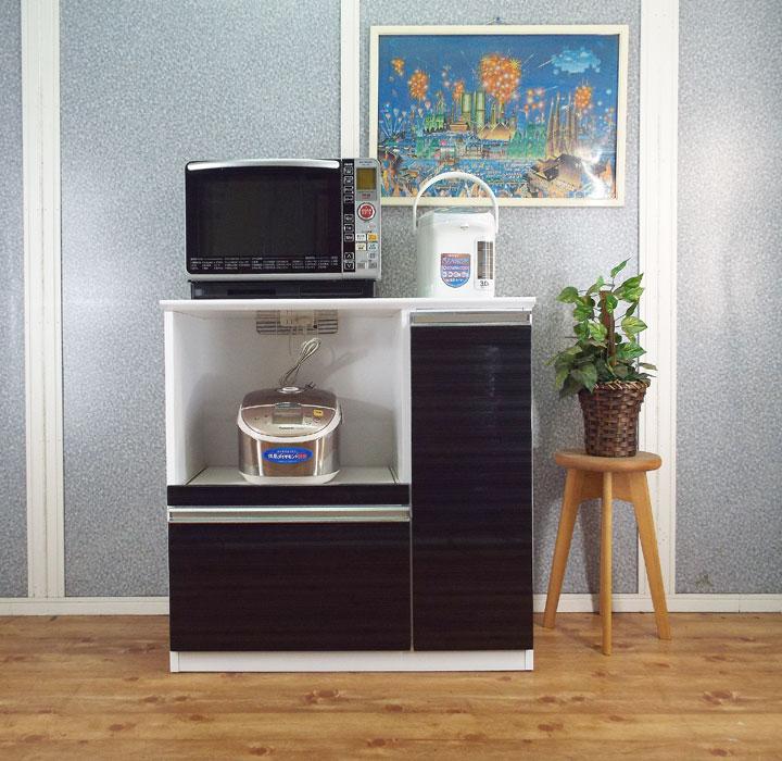 キッチンカウンター レンジ台 90 ブラック 鏡面 キッチン作業台