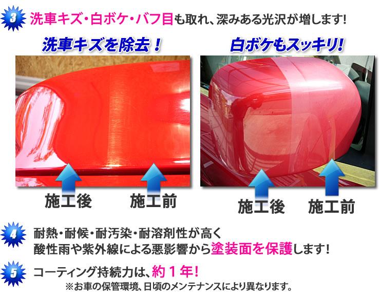 洗車キズ・白ボケ・バフ目も取れ、深みある光沢が増します!洗車キズを除去!白ボケもスッキリ!