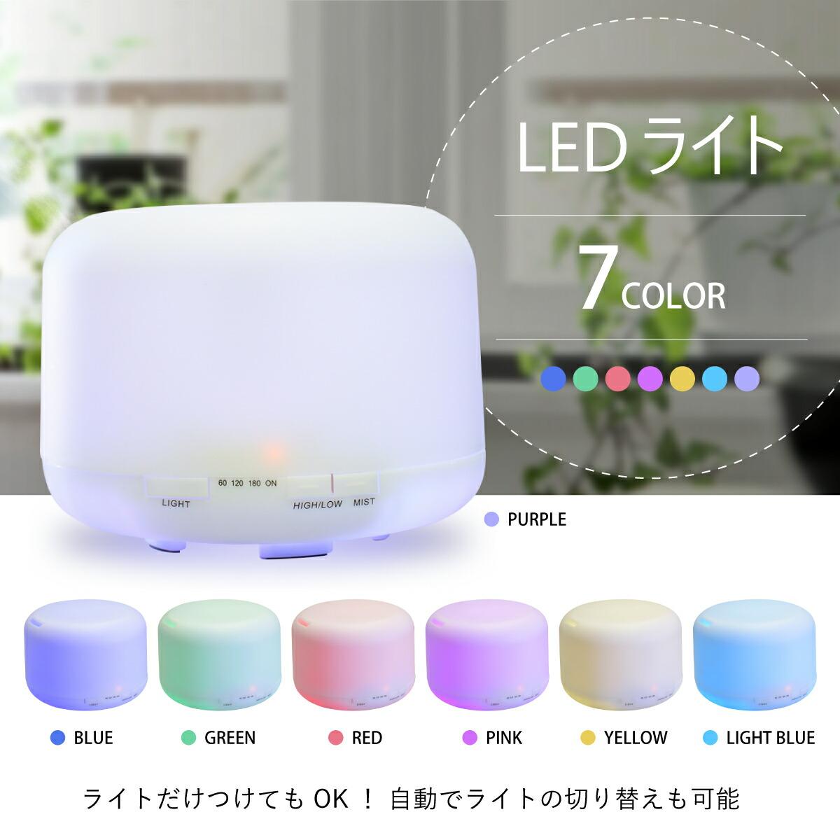 LEDライトは7色あり、明るさは2段階変化。ライトのみの点灯もOK