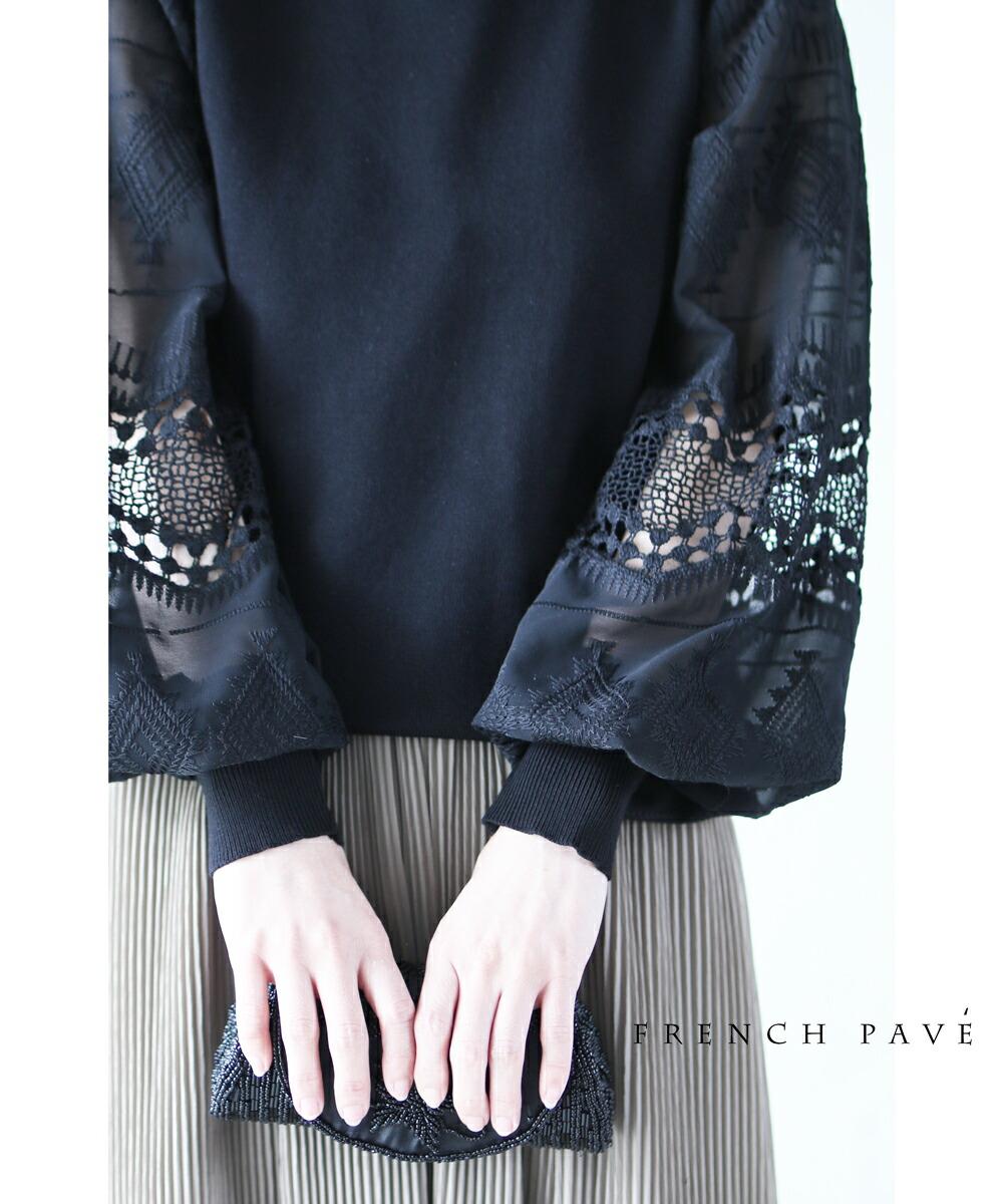 (ブラック)「frenchpave」トライバル刺繍とレースのシアーポワン袖トップス