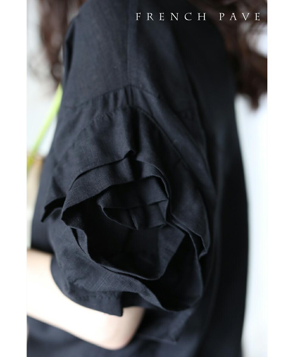 (ブラック)「frenchpave」(黒)花開く薔薇。ローズスリーブトップス