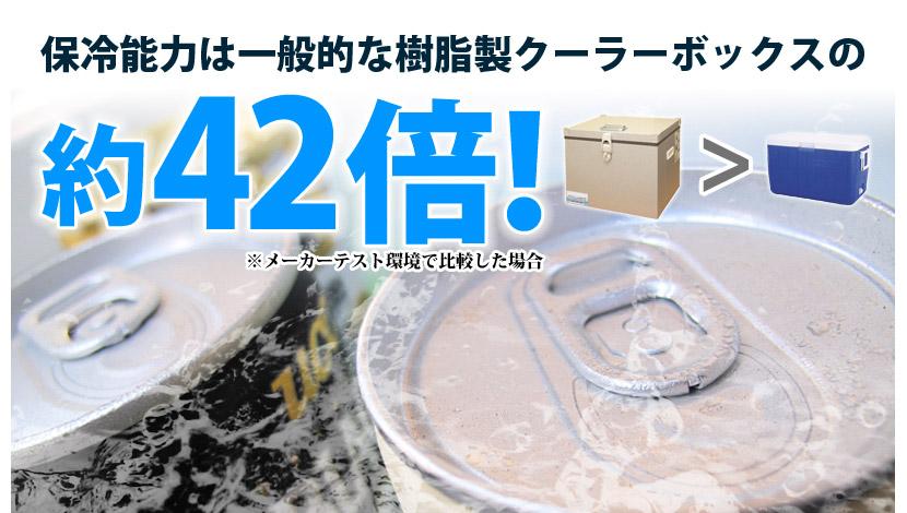樹脂製クーラーボックスの42倍の保冷力