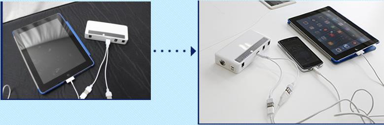 モバイル端末の充電写真