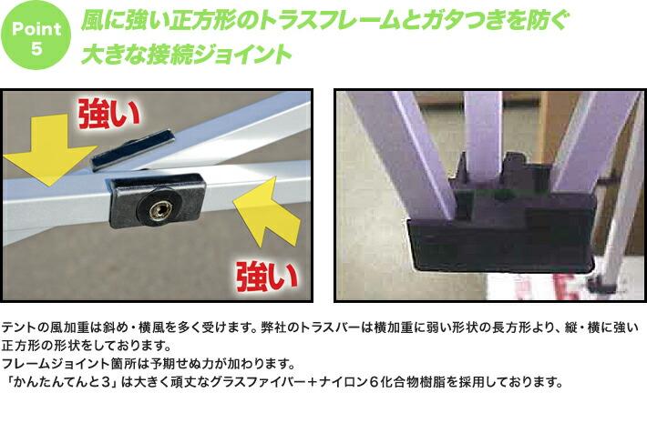 風に強い正方形のトラスフレームとガタつきを防ぐ大きな接続ジョイント