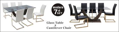 ダイニングテーブル 7点セット 6人掛け リビング カンティレバーチェア ダイニング7点セット 強化ガラス 北欧スタイル PU座面 ステンレス チェア クリア スモーク シンプル モダン カジュアル