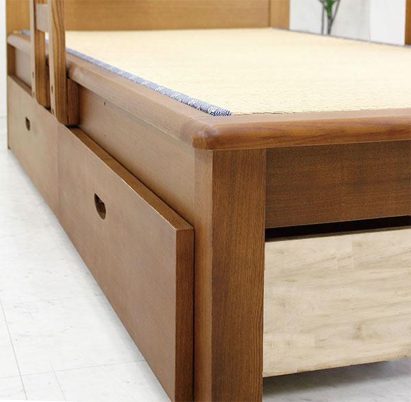 畳ベッド シングル 木製 フレームのみ 和風 手すり付き