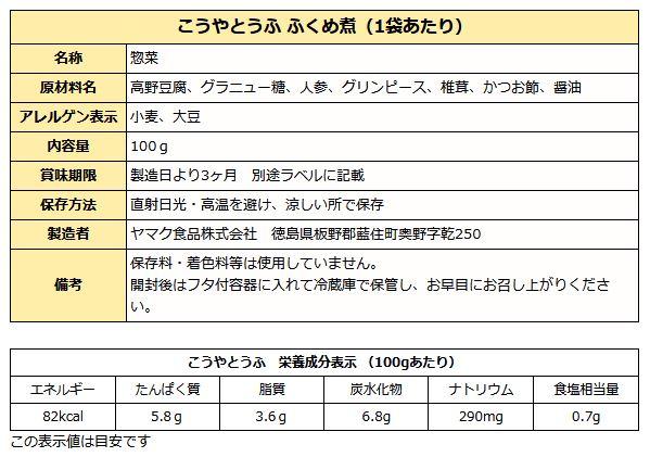 高野豆腐成分表