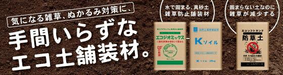 雑草対策に水で固まる土