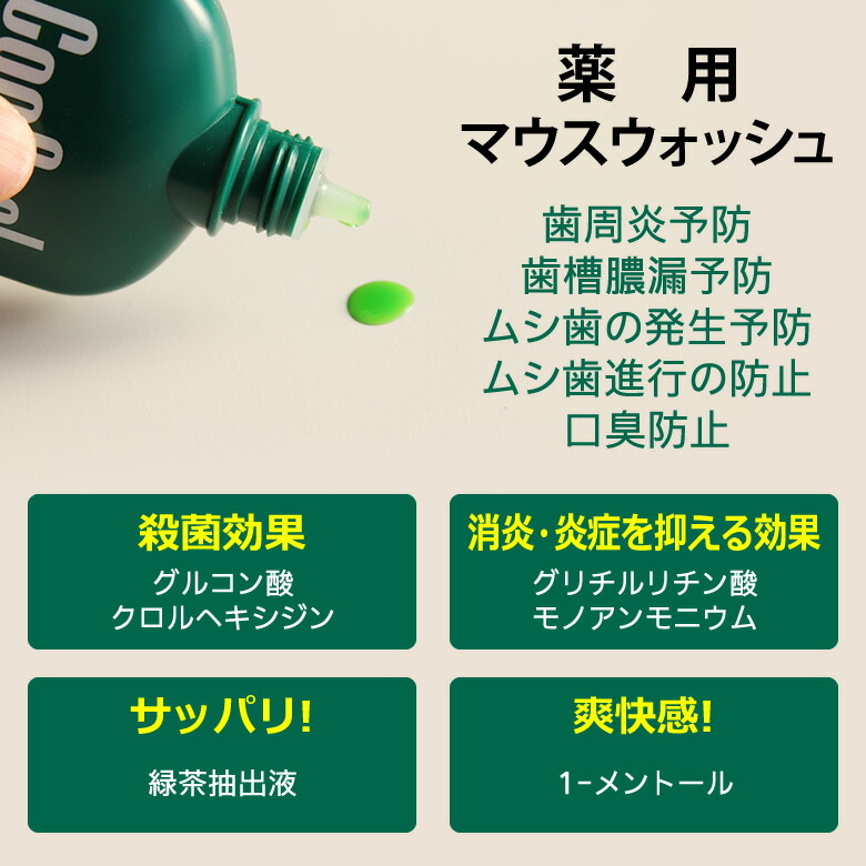 薬用マウスウォッシュ 歯周炎予防、歯槽膿漏予防、ムシ歯の発生予防、ムシ歯進行の防止、口臭防止