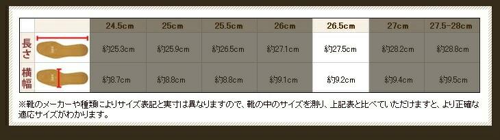 IPIレザーインソールサイズ表