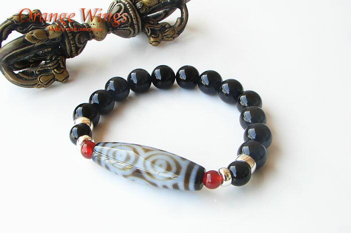 チベット天珠(てんじゅ・ジービーズ/dzi beads) 龍眼天珠&シルバー・ブレスレット