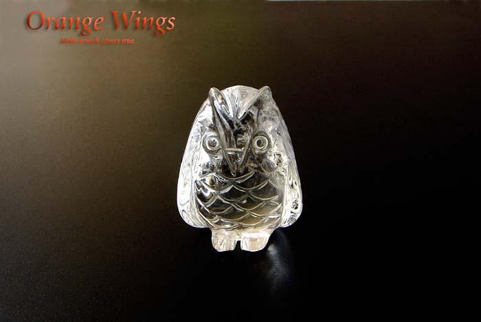 幸せを運ぶ鳥 フクロウ 可愛くて お守りにピッタリ 天然水晶製 高品質 パワーストーン