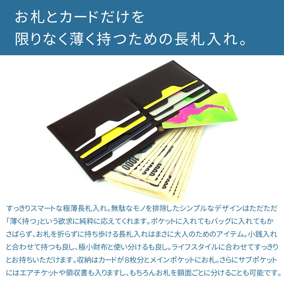お札とカードだけを限りなく薄く持つための長札入れ。