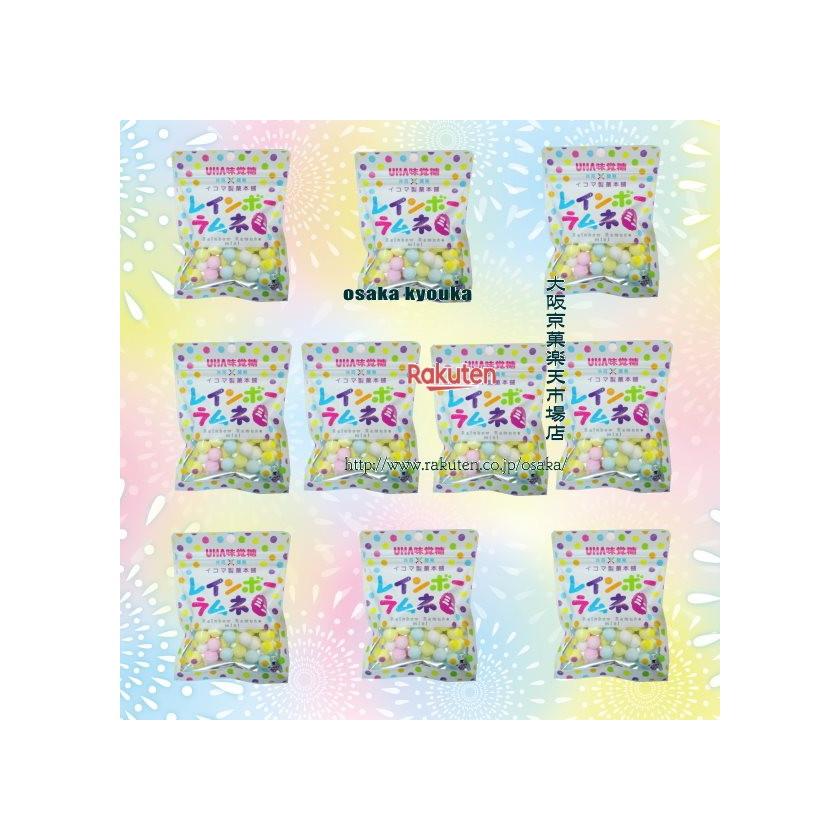 【メール便送料無料】大阪京菓ZR UHAピピン 40グラム イコマ製菓本舗 共同開発 レインボーラムネ ミニ ピーチ味 ×10袋 +税 【ma】