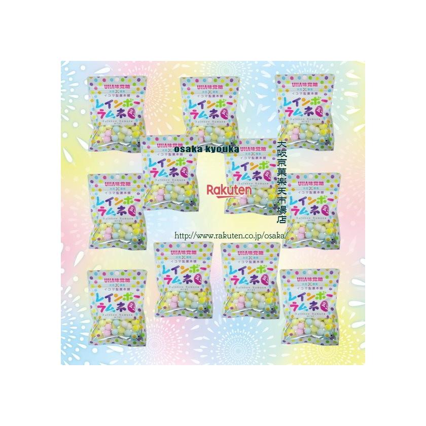 【メール便送料無料】大阪京菓ZR UHAピピン 40グラム イコマ製菓本舗 共同開発 レインボーラムネ ミニ ピーチ味 ×11袋 +税 【ma】