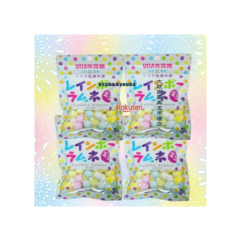 【メール便送料無料】大阪京菓ZR UHAピピン 40グラム イコマ製菓本舗 共同開発 レインボーラムネ ミニ ピーチ味 ×4袋 +税 【ma】