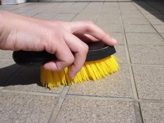 ※雨ざらしになる磁器タイルやテラコッタ床、モザイクタイル、レンガタイルの磨き掃除にも最適です。写真のように目地がある場合も、毛がヘタることなくハードブラッシングが可能です。市販のクリームクレンザー(弱アルカリ性)を振りまいてこすってみましょう(落ちにくい場合は「酸性クレンザー」をお試し下さい)