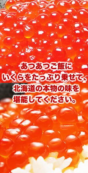 あつあつご飯にいくらをたっぷり乗せて、北海道の本物の味を堪能してください。