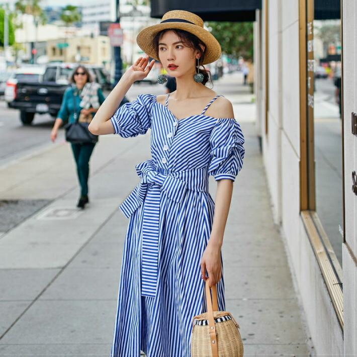 fa7e35bf3e8 otenba-chocola  Blues tripe off shoulder dress