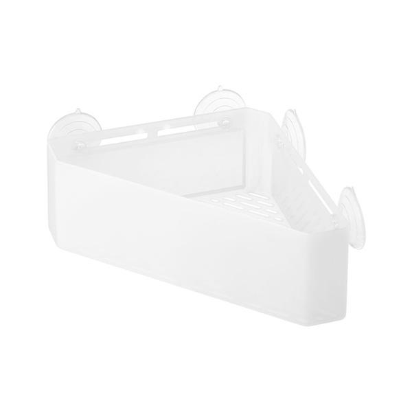 【山崎実業】<br>吸盤バスルームコーナーおもちゃラック ミスト ホワイト 4726