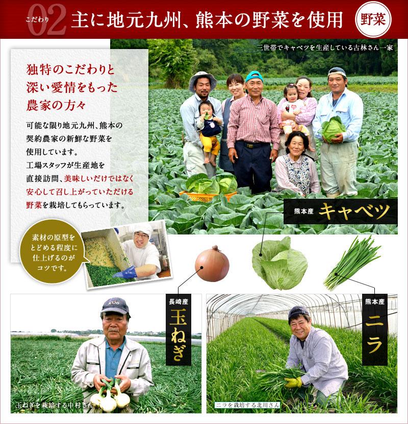 こだわり2.主に地元九州、熊本の野菜を使用
