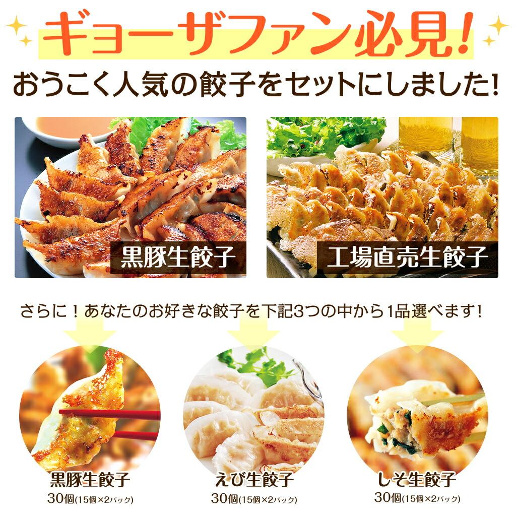 おうこく人気の餃子をセットにしました!黒豚生餃子+工場直売生餃子+選べる1品