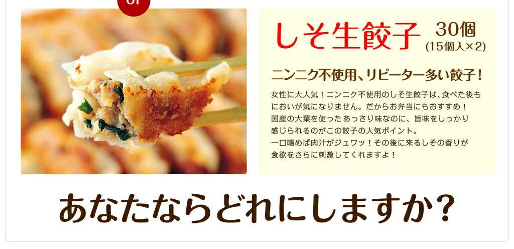 選べる1品(工場直売生餃子 30個 or えび生餃子 30個 or しそ生餃子 30個)