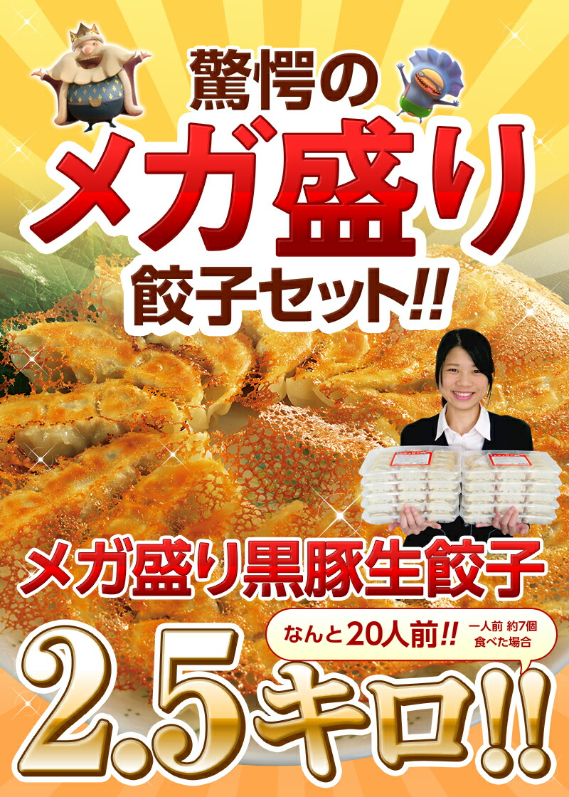 驚愕のメガ盛り餃子セット メガ盛り黒豚生餃子 2.5kg!なんと20人分!
