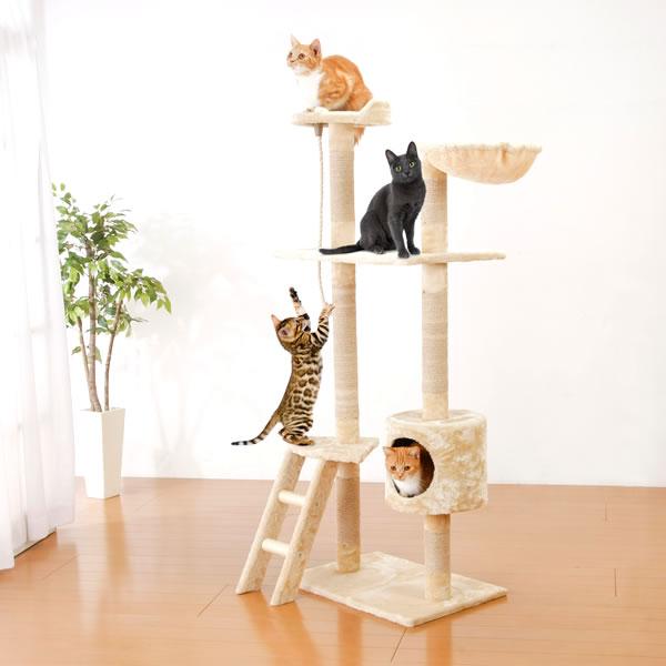 キャットタワー 猫じゃらしプレゼント 据え置き 猫タワー 猫 遊び場 タワー 爪とぎ 隠れ家 階段 ハンモック 高さ150cm