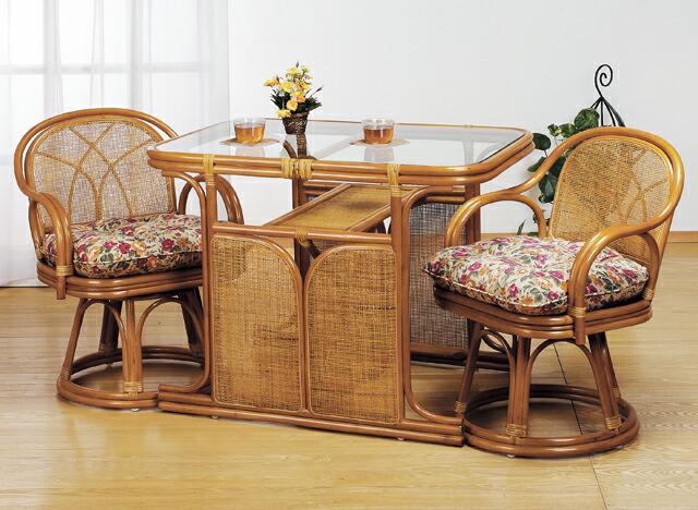 東京ラタン ダイニングテーブル チェア 2脚セット 天然籐 籐製 ラタン ダイニングセット 3点セット TS