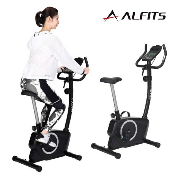 アルフィッツ エアロバイク エアロマグネティックバイク フィットネスバイク 心拍数測定機能搭載 体力評価機能搭載 タブレットトレー付き ペダルバンド付き 移動キャスター付き 代金引換不可