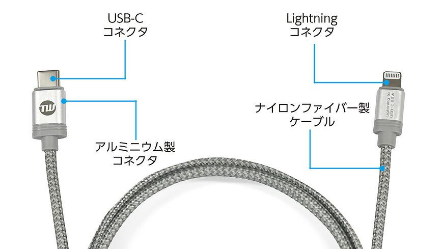 TUNEWIRE C-L USB-C to Lightning ケーブル 1.2m
