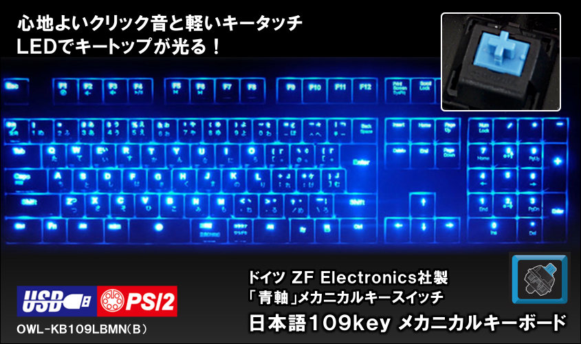 キーボード USB PS/2 青軸 メカニカル 109キー ドイツCherry社製 LEDライトキーボード「STELLAR(ステラ)」 【送料無料】 OWL-KB109LBMN(B)