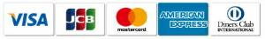 VISA、mastarcard、AMEX、JCB、dinersclubのクレジットカードをご利用になれます