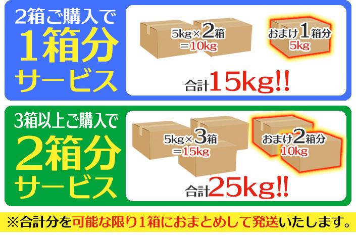 2箱ご購入で1箱分サービス!=合計15kg/3箱ご購入で2箱分サービス!=合計25kg/4箱ご購入で3箱分サービス=合計17.5kg/※合計分を可能な限り1箱におまとめして発送いたします。