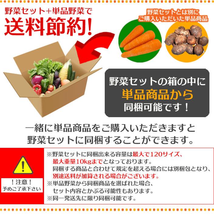 野菜セットとは別にご購入いただいた単品野菜を同梱することが可能です。同梱出来る数量には限りがございます。、最大120サイズ、最大重量10kgまでです。規定を超える場合には別梱包となり送料が加算されます。予めご了承くださいませ。