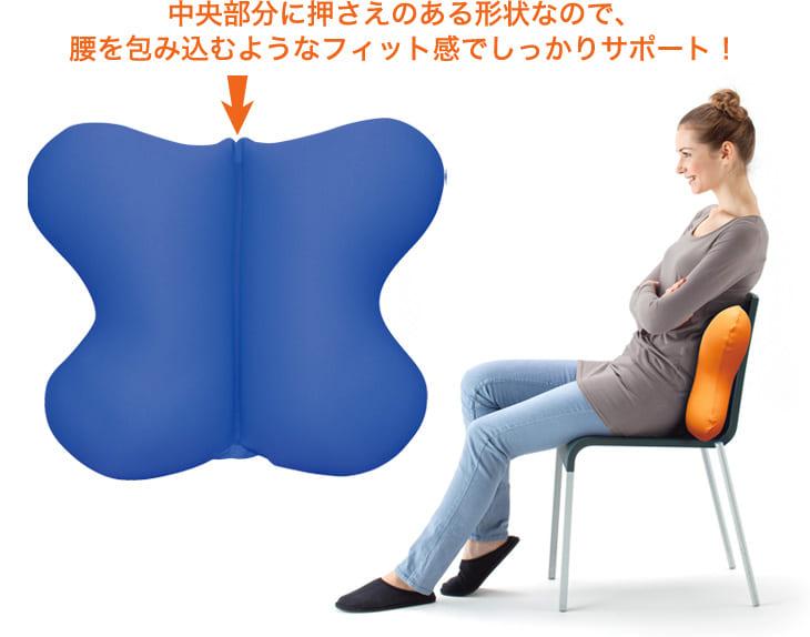 中央部分に押さえがある形状なので、腰を包み込むようなフィット感でしっかりサポート!