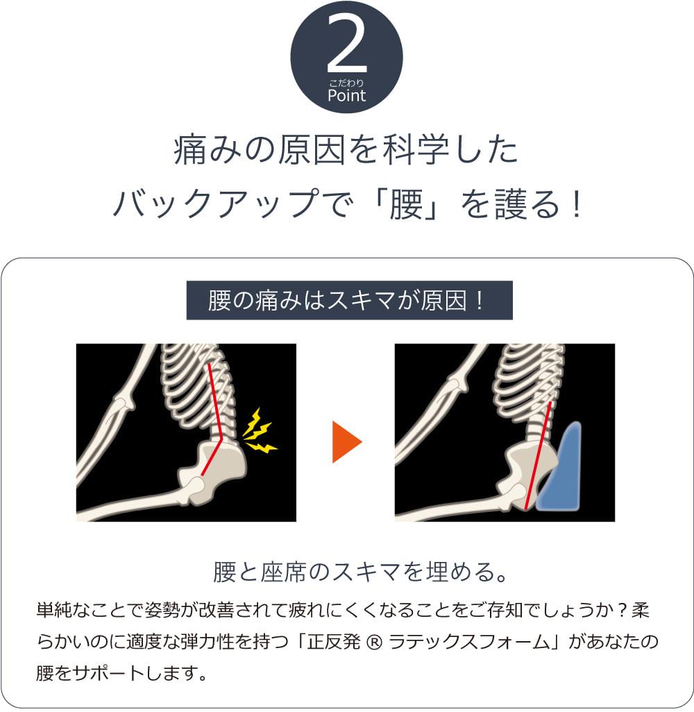 痛みの原因を科学したバックアップで「腰」を護る!