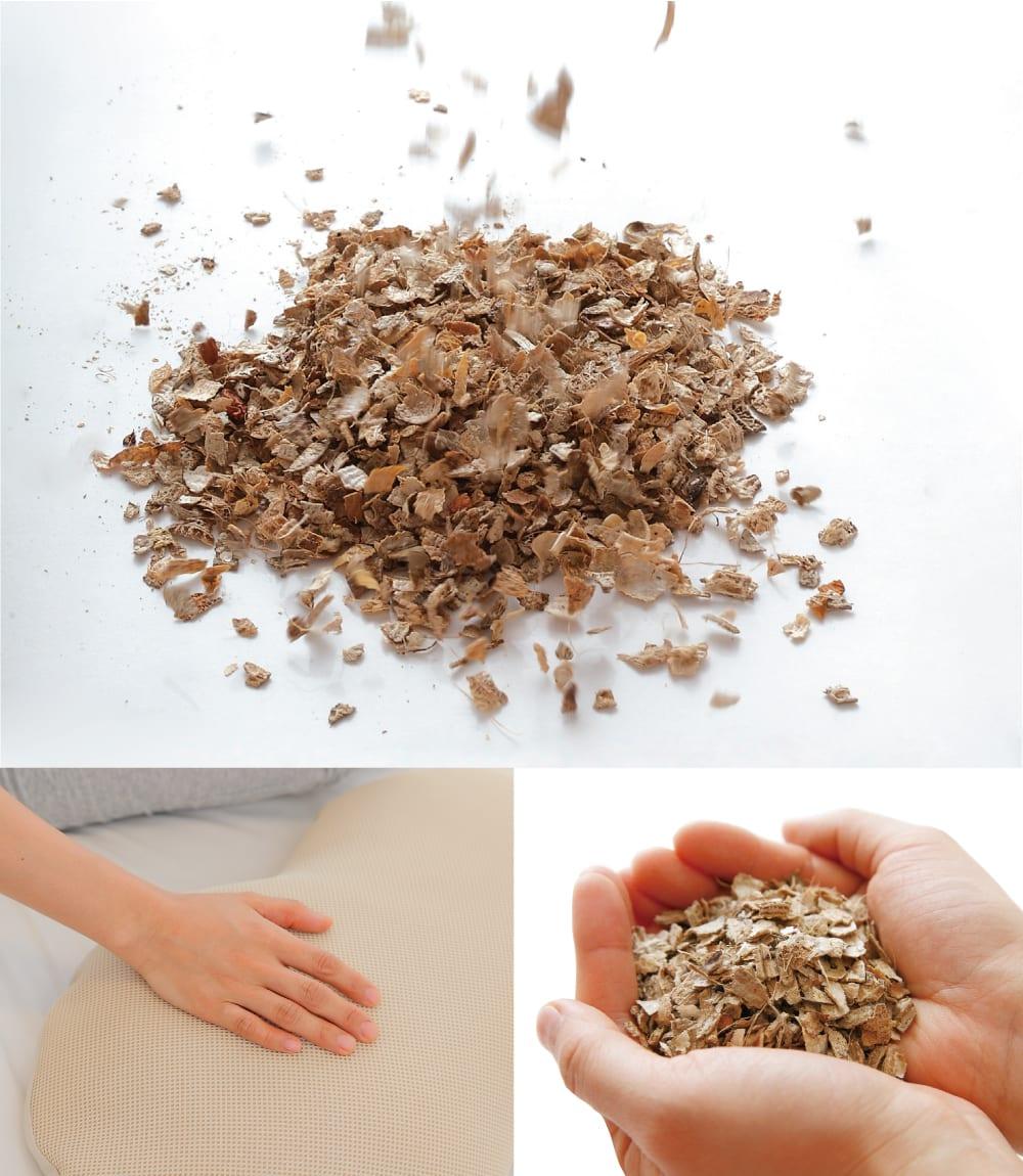 落花生の殻には、汗や水分を吸収する吸水性や適度な弾力性など枕素材としての基本機能はもちろんのこと、臭いを抑える消臭効果もあります。