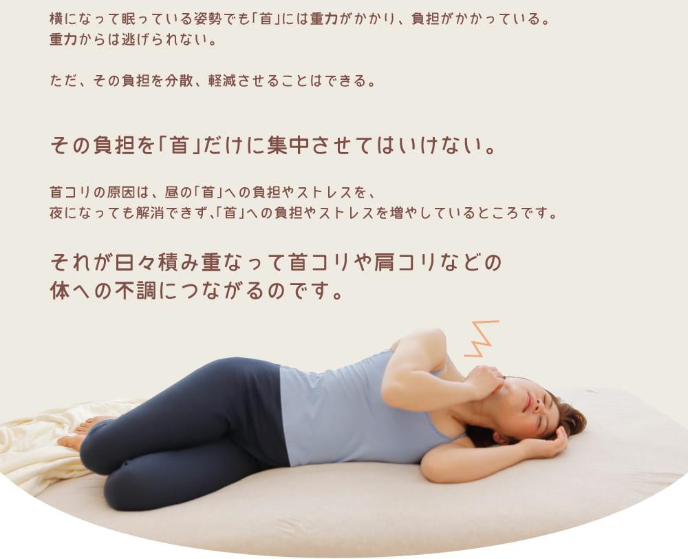 今、お使いの枕、本当に「首」をゆっくりと休め、「首」に優しい枕ですか?横になって眠っている姿勢でも「首」には重力がかかり、負担がかかっている。重力からは逃げられない。