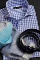 からみ織りシャツ・ホリゾンタルカラー・長袖
