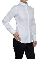 【レディースシャツ】スリムフィット・長袖・ワイドカラー・プレミアムコットン120番手双糸・イージーケア・日本製
