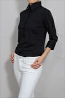 ニットシャツ・ナチュラルフィット・七分袖・イージーケア・UVカット・ワイドカラー・日本製