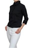 【レディース・ニットシャツ】七分袖・イージーケア・UVカット・ワイドカラー・日本製