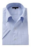 【半袖】クールマックス・形態安定・オックスフォード・イタリアンカラー・ボタンダウン・第一ボタンあり