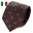 ネクタイ・イタリア製生地・ペイズリー・ブラウン・日本製
