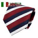 ネクタイ・イタリア製生地・レジメンタル・綿混・レッド・日本製
